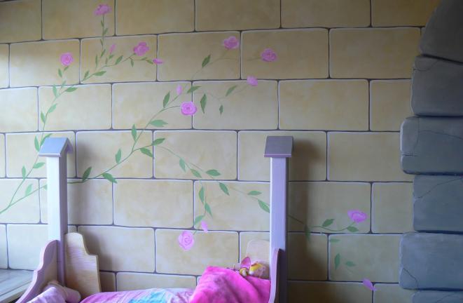 Allround deco muurschilderingen muur met rozen - Deco grijze muur ...